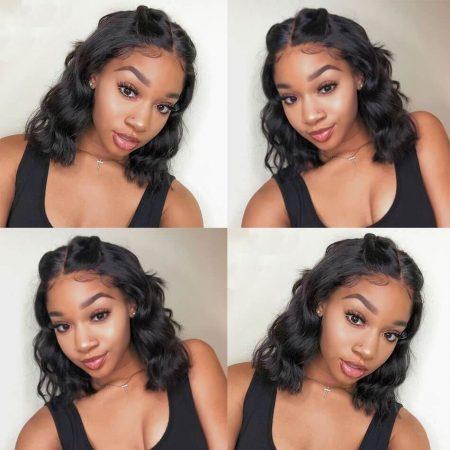 Natural Black Short Cut Human Hair 13x4 Lace Front Wig You Can Choose