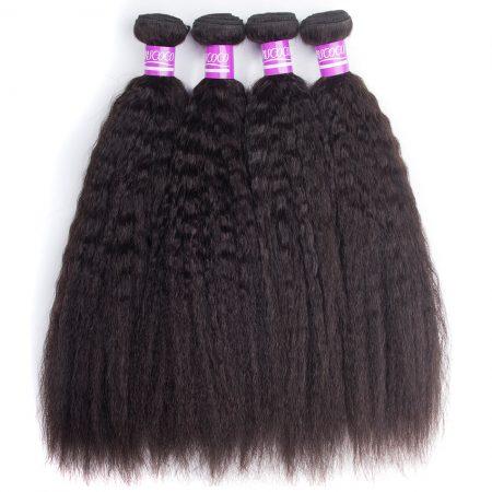 Brazilian Kinky Straight Hair Bundles Virgin Human Hair Weaves 4 Bundles